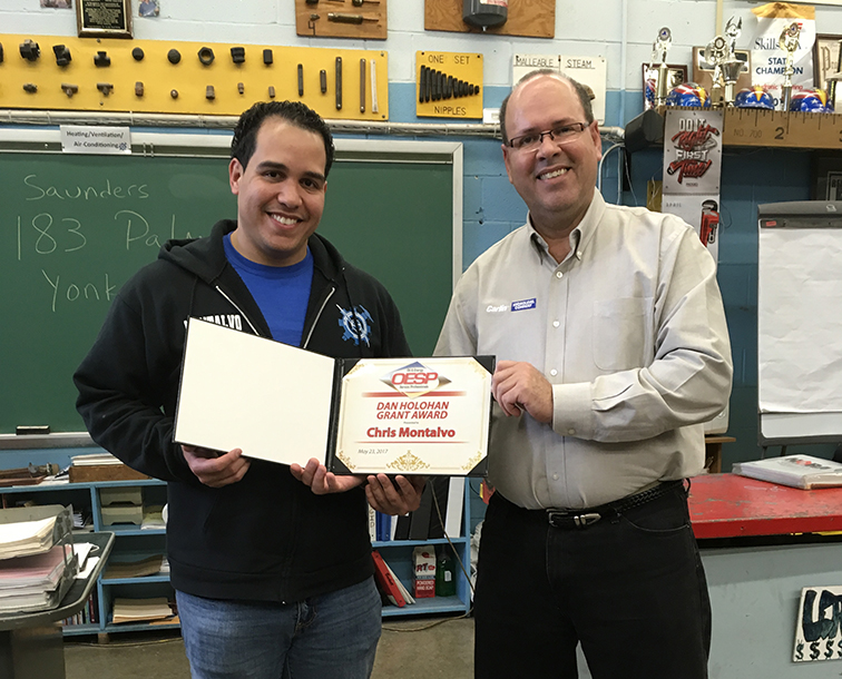 Congratulations to Chris Montalvo of the Saunders School for being awarded this year's Dan Holohan Grant. Pictured here, Chris Montalvo and Angel Gonzalez.